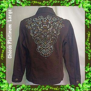 Chico's Platinum / Sz 2 - Large Embellished Jacket
